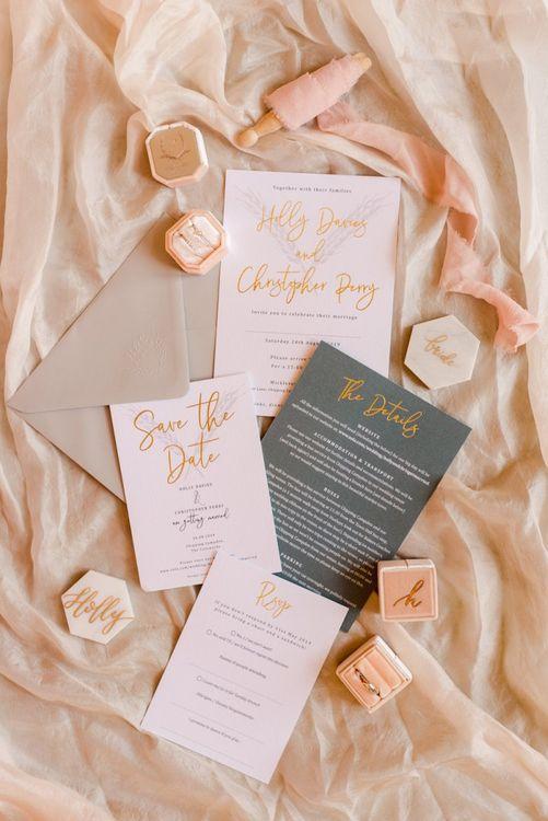 Pink and grey wedding stationery