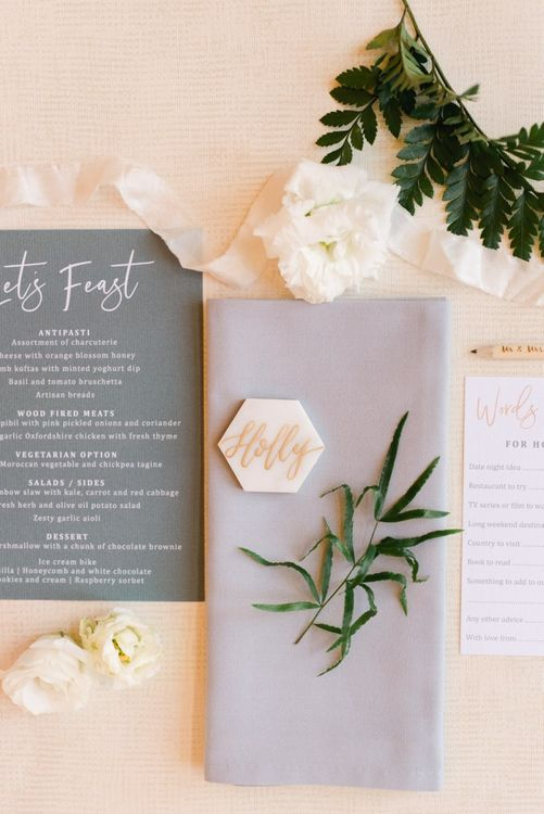 Wedding stationery with place name tile