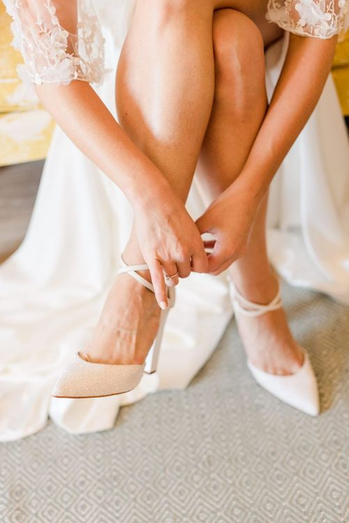 White wedding shoes for bride