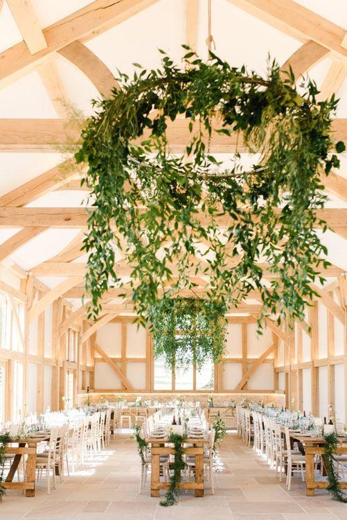 Foliage chandelier at wedding breakfast