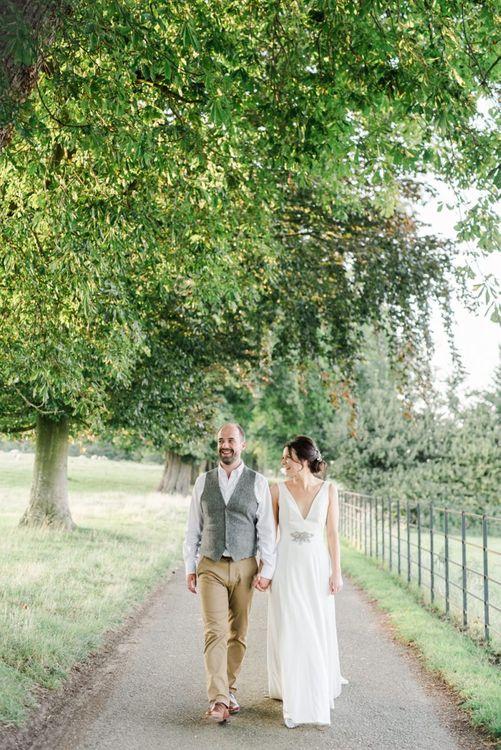 Bride and groom at farm wedding
