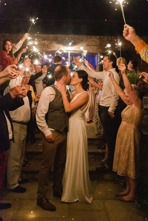 Sparkler exit for bride and groom
