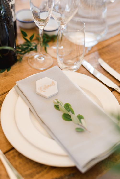 Wedding place setting with personalised tile place names
