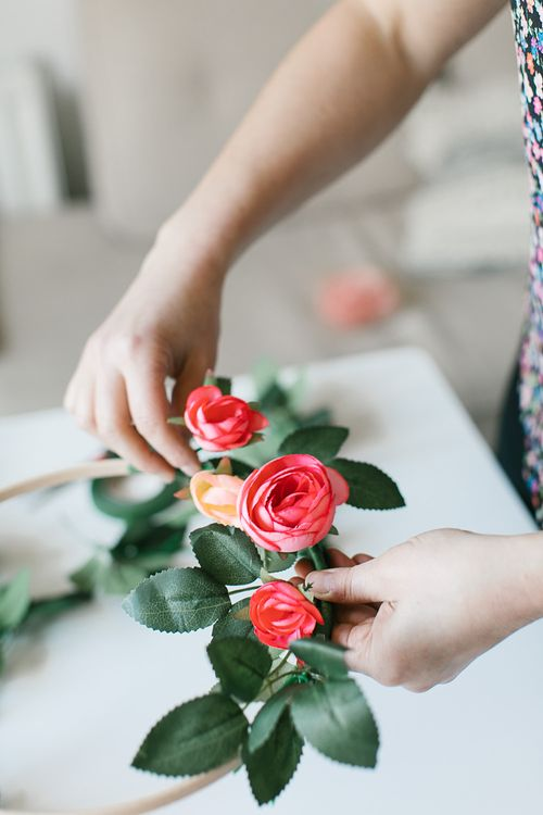 Coral peony hoop bouquets