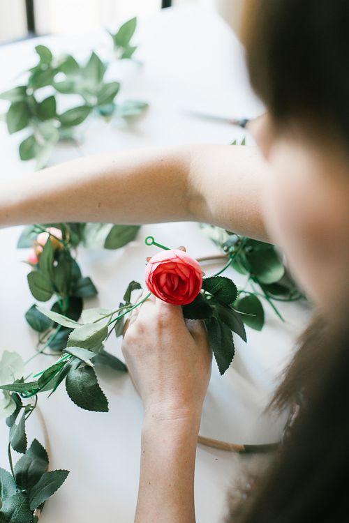 DIY bridal hoop with roses and peonies