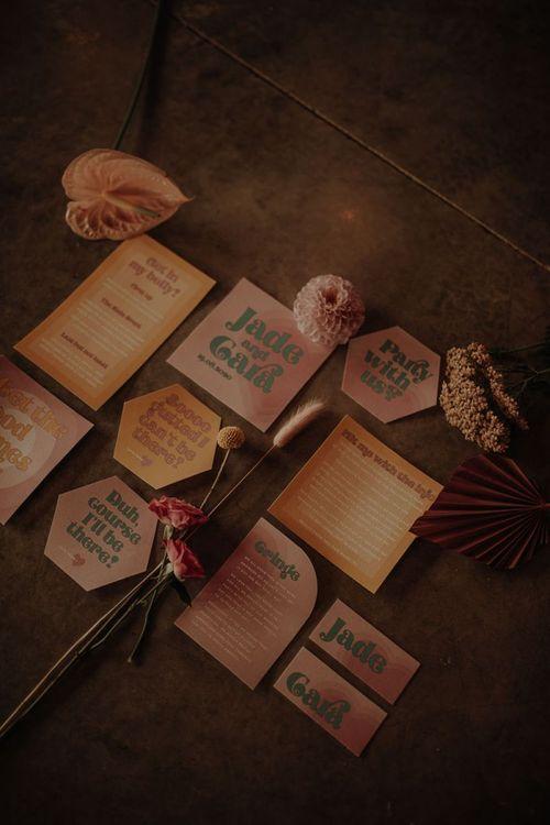 Retro wedding invitation by Sundown Paper