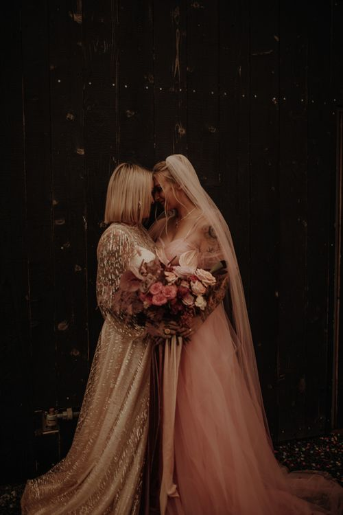 Gold glitter and pink dress for wedding inspiration at Wales wedding venue