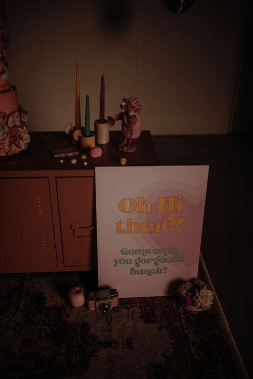 Pink retro wedding signs