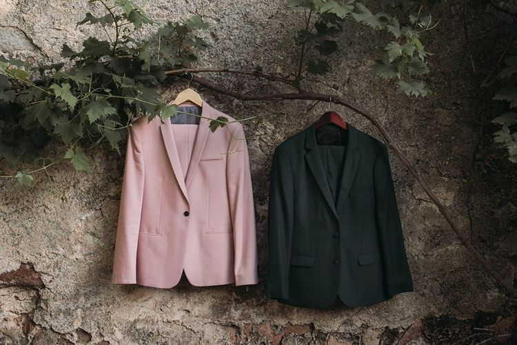Pink and Green Grooms Wedding Suits