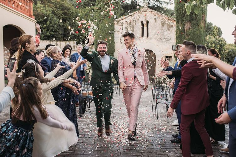 Confetti Exit with Groom in Pink Wedding Suit and Green Wedding Suit