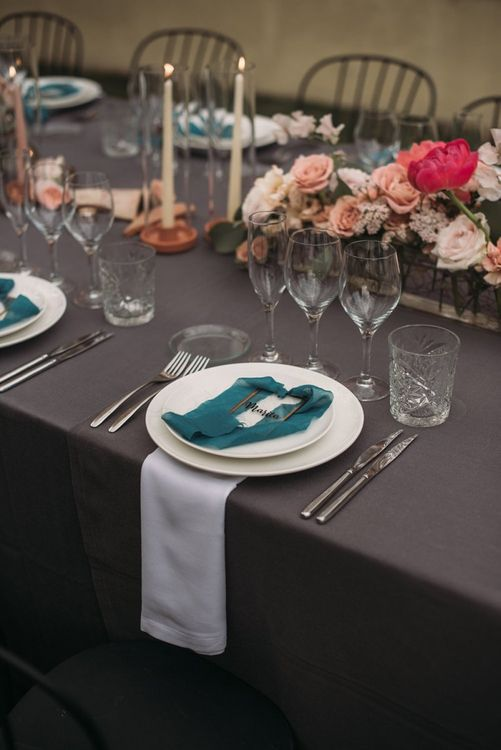 Place Setting with Hanging Napkin and Miniature Frame Name Setting