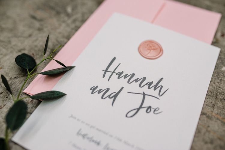 Stylish Knockknockpennystudio Wedding Stationery with Rose Gold Wax Seal and Pink Envelope