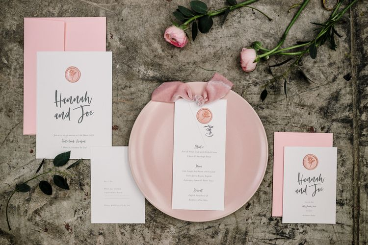 Stylish Knockknockpennystudio Wedding Stationery Suite with Rose Gold Wax Seal, Bold Font and Pink Envelope