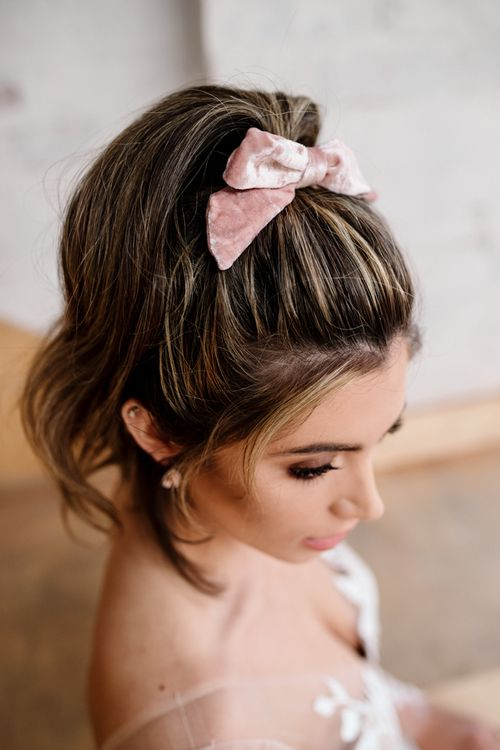 Bride with Pony Tail Tied in Pink Velvet Ribbon