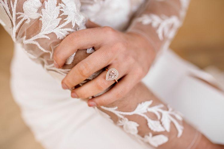 Tear Drop Diamond Engagement Ring