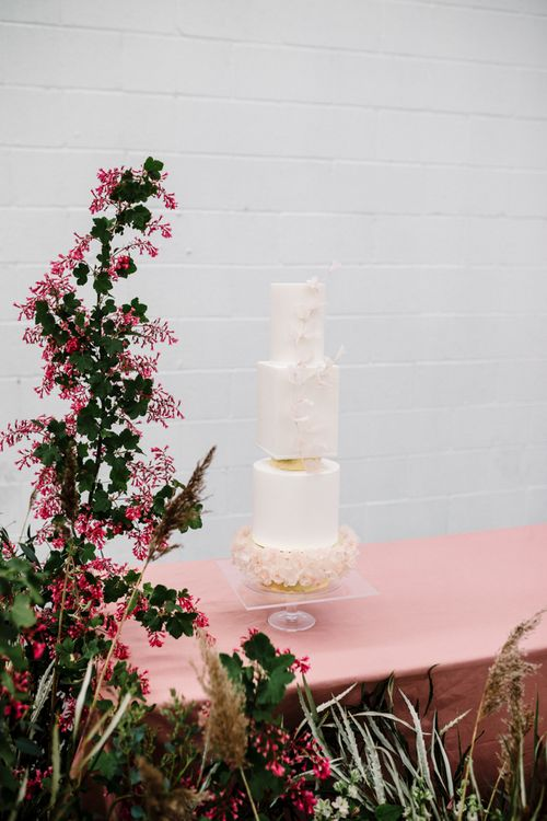 Elegant Wedding Cake with Round and Square Layers