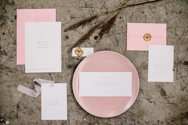 Stylish Wedding Stationery Suite with Gold Wax Seal and Velvet Ribbon Detail by Knockknockpennystudio