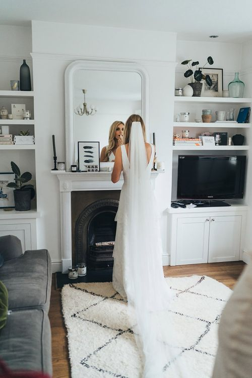 Bridal Preparations Getting Ready With Long Veil