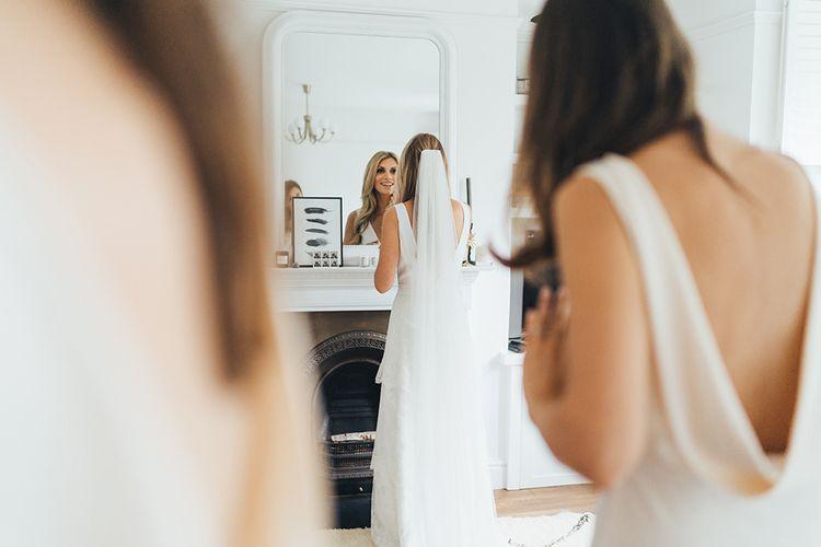 Bridesmaid Dress Low Back During Bridal Preparations
