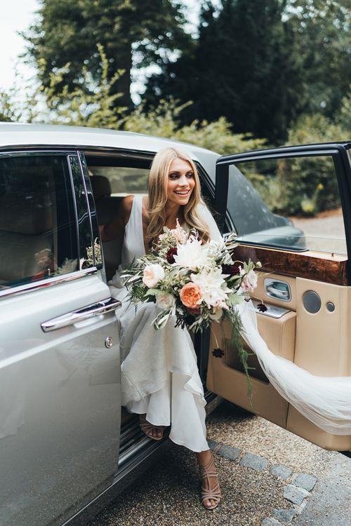 Bride Arriving in Rolls Royce Wedding Car