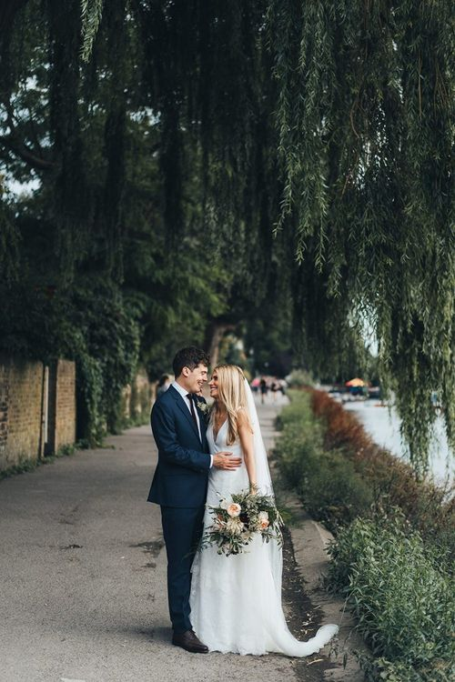Bride and Groom Portrait Next to Thames