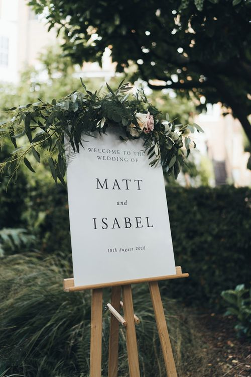 Simple Wedding Welcome Sign with Foliage Decor