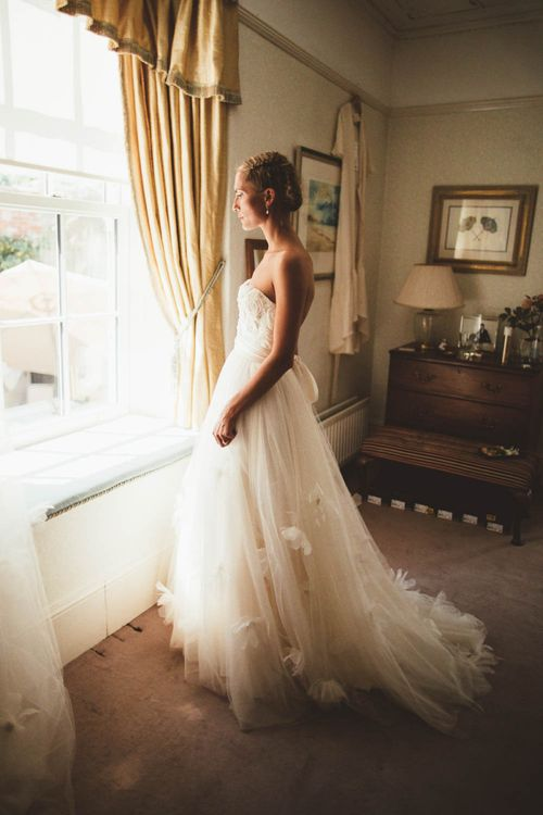 Wedding Morning with Bride in Tulle and Applique Halfpenny London Wedding Dress
