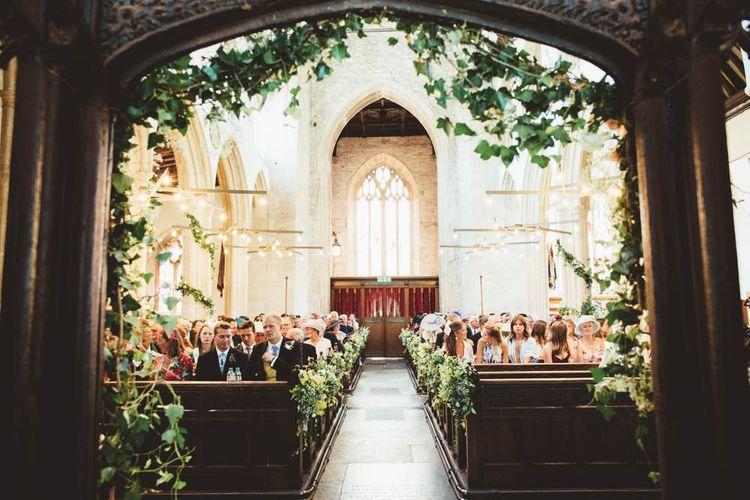 Church Wedding Ceremony with Ivy Wedding Decor