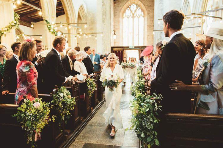 Church Wedding Ceremony Bridesmaid Entrance in White Dress