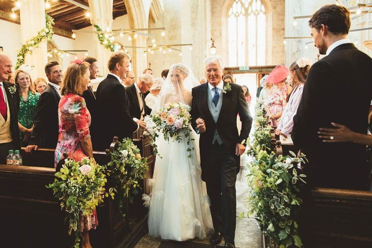 Church Wedding Ceremony Bridal Entrance in Tulle and Applique Halfpenny London Wedding Dress