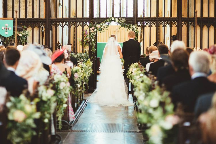 Church Wedding Ceremony with Floral Aisle Flowers