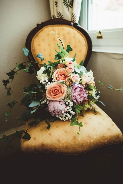 Pink Peony and Peach Rose Wedding Bouquet with Foliage