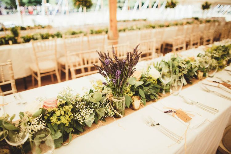 Greenery Table Runner and Lavender Stems in Jars