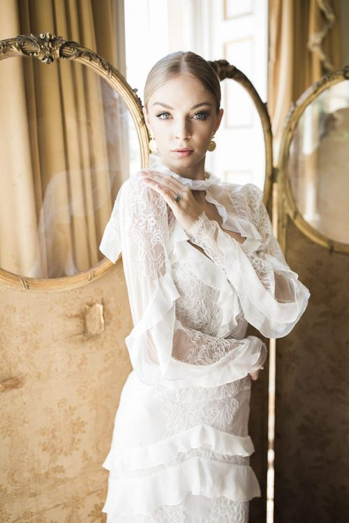 Delicate lace and ruffle Alon Livne  wedding dress