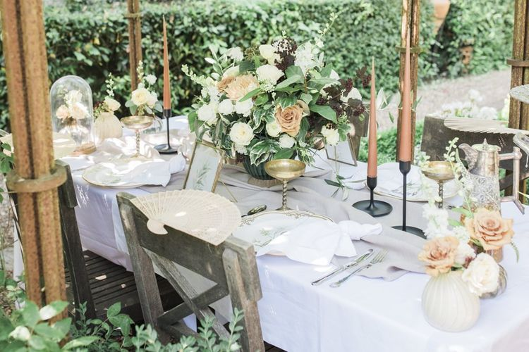 Intimate reception table for Italian themed micro wedding