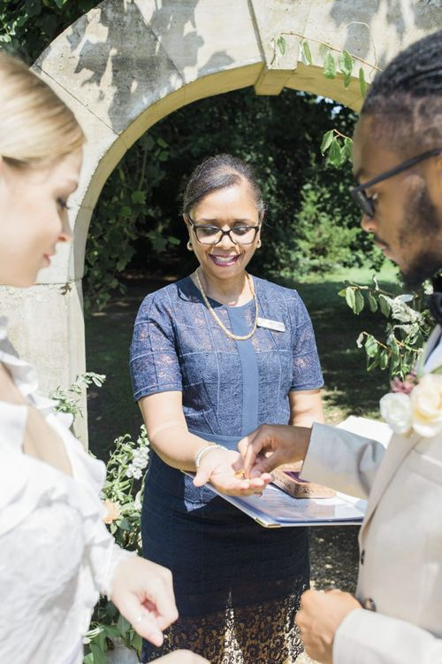 Jennifer Patrice wedding celebrant conducting an outdoor wedding ceremony