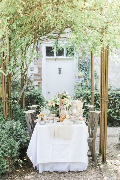 Intimate tablescape at The Old Rectory Estate for an Italian themed micro wedding