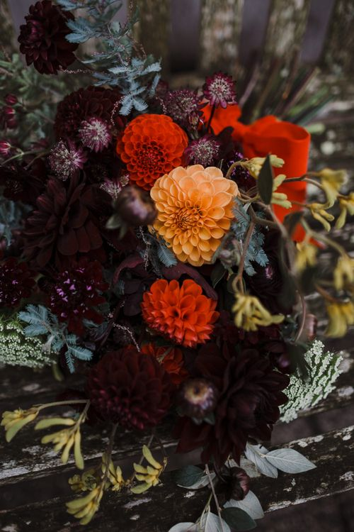Orange and Red Dahlia Wedding Flowers