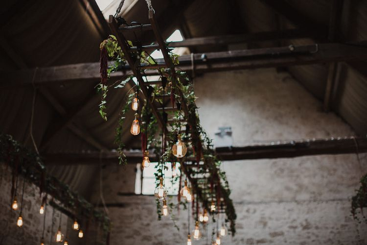 Industrial Hanging Edison Bulb Installation with Vines