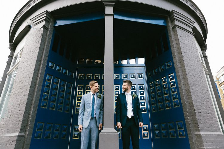 Wedding Morning at The Hoxton Hotel | Groom in Dark Petrol Blue Suit by Paul Smith | Groom in Light Blue Made-To-Measure Suit by Beggars Run | Same Sex Wedding with Industrial Styling at Wimborne House | Marmelo Photography