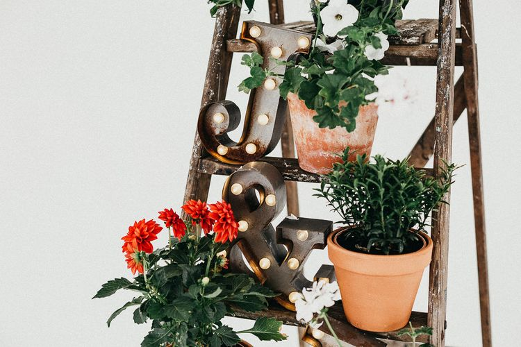 Industrial Ladder with Potted Plants | Copper Letter Lights | Same Sex Wedding with Industrial Styling at Wimborne House | Marmelo Photography
