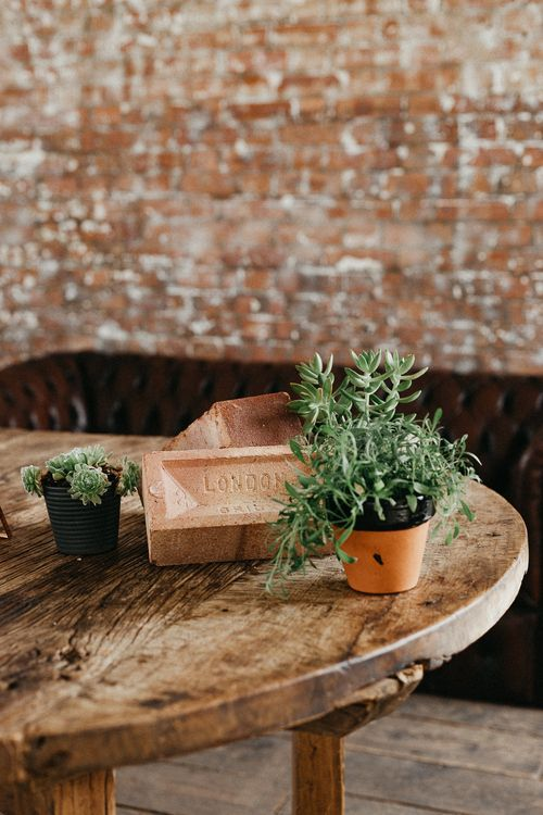 Wedding Reception Decor | Potted Plants | Succulents | Same Sex Wedding with Industrial Styling at Wimborne House | Marmelo Photography