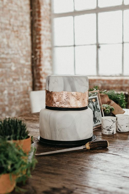 Marble Wedding Cake with Copper Leaf | Potted Plants | Succulents | Same Sex Wedding with Industrial Styling at Wimborne House | Marmelo Photography