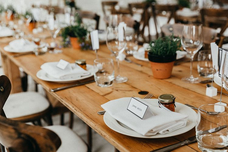Wedding Reception Decor | Marmalade Wedding Favours | Trestle Table | Potted Plants | Place Settings | Same Sex Wedding with Industrial Styling at Wimborne House | Marmelo Photography