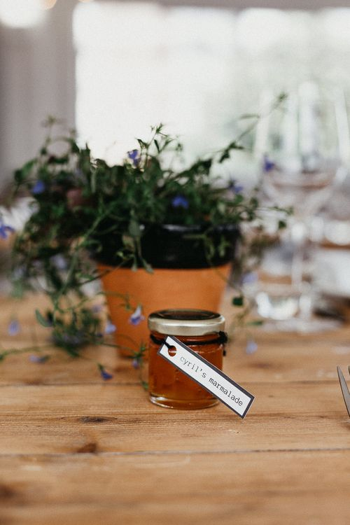 Wedding Reception Decor | Marmalade Wedding Favour | Trestle Table | Potted Plant | Same Sex Wedding with Industrial Styling at Wimborne House | Marmelo Photography