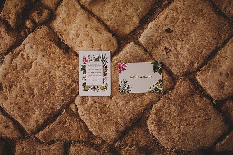 Wedding Stationery | Brightly Coloured Destination Wedding at Masseria Potenti Wedding Venue, Puglia, South Italy | Petar Jurica Photography | Marco Odorino Film