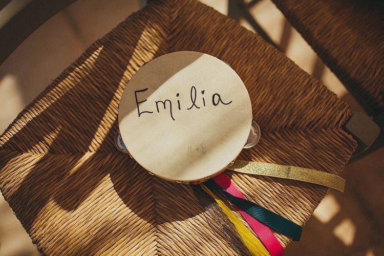 Tamborine with Coloured Ribbon | Brightly Coloured Destination Wedding at Masseria Potenti Wedding Venue, Puglia, South Italy | Petar Jurica Photography | Marco Odorino Film