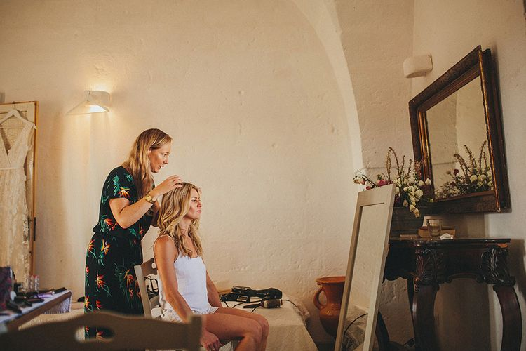 Wedding Morning Bridal Preparations | Bridal Hair & Makeup | Brightly Coloured Destination Wedding at Masseria Potenti Wedding Venue, Puglia, South Italy | Petar Jurica Photography | Marco Odorino Film