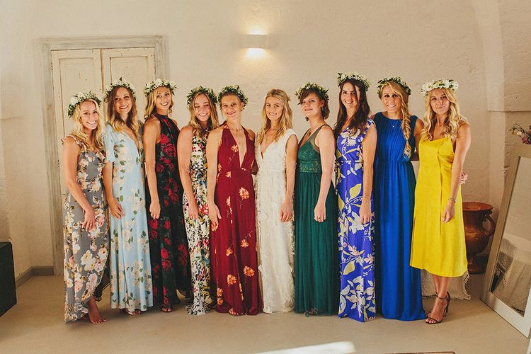 Bridal Party | Bridesmaids in Different Brightly Coloured  Dresses | Custom Clemence Halfpenny London Bridal Gown | Brightly Coloured Destination Wedding at Masseria Potenti Wedding Venue, Puglia, South Italy | Petar Jurica Photography | Marco Odorino Film