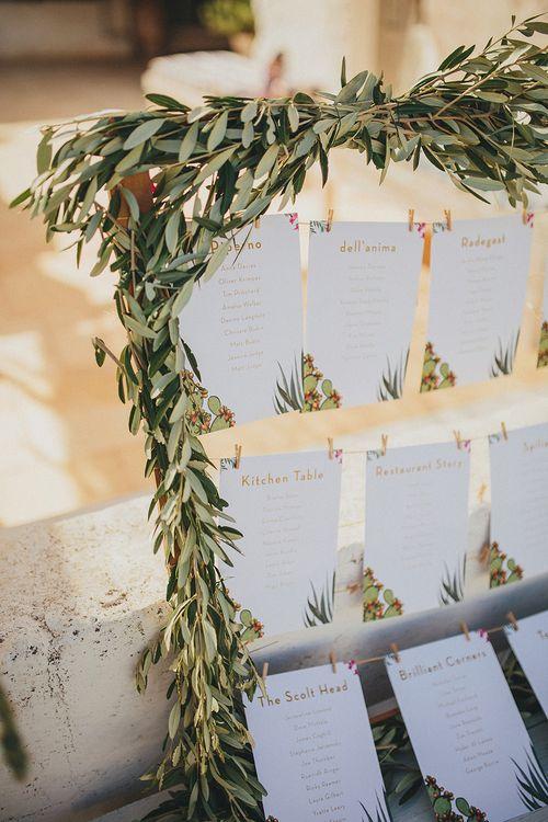 Table Plan with Greenery Frame | Brightly Coloured Destination Wedding at Masseria Potenti Wedding Venue, Puglia, South Italy | Petar Jurica Photography | Marco Odorino Film